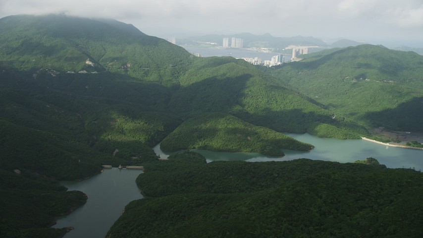 Tai Tam Reservoir and Green Mountain Peak on Hong Kong Island, China Aerial Stock Footage | SS01_0075