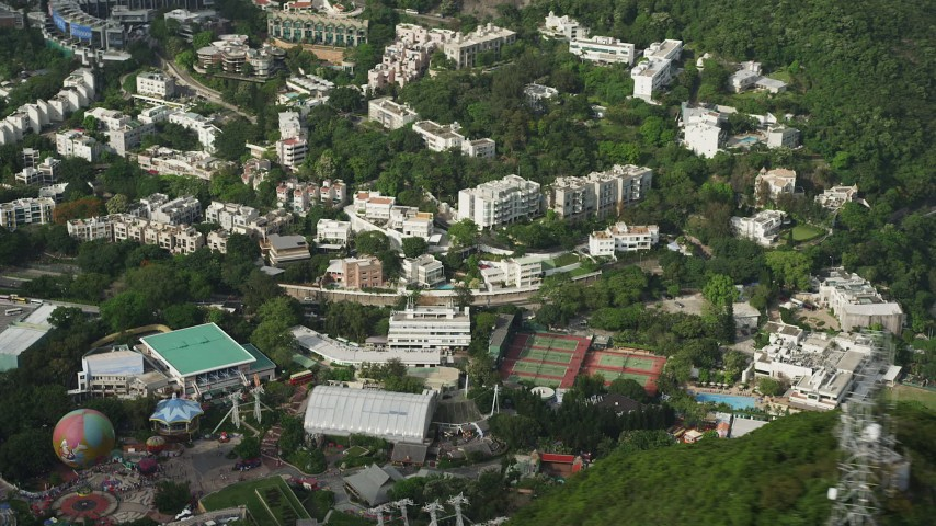 Hillside Apartment Buildings and Ocean Park on Hong Kong Island Aerial Stock Footage | SS01_0077