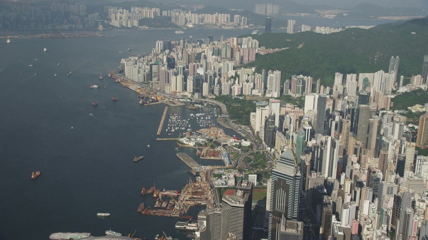 Waterfront Skyscrapers on Hong Kong Island in China Aerial Stock Footage | SS01_0086