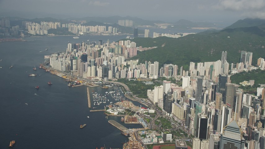 5K stock footage aerial video of waterfront skyscrapers on Hong Kong Island in China Aerial Stock Footage | SS01_0086