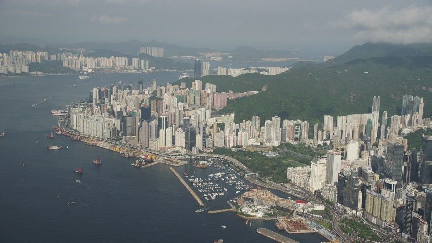 5K stock footage video of skyscrapers overlooking Victoria Harbor on Hong Kong Island, China Aerial Stock Footage | SS01_0087