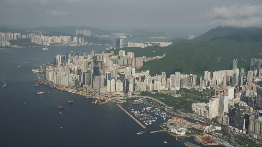 Group of Waterfront Skyscrapers on Hong Kong Island, China Aerial Stock Footage | SS01_0088