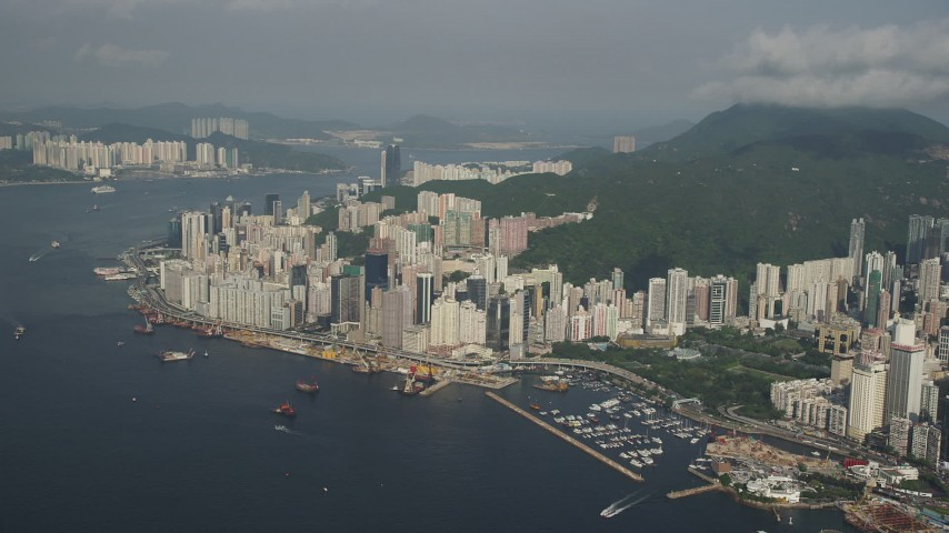 5K stock footage aerial video a group of waterfront skyscrapers on Hong Kong Island, China Aerial Stock Footage | SS01_0088