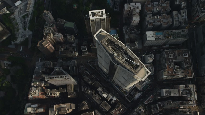 5K stock footage aerial video bird's eye view of high-rise and city streets in Kowloon, Hong Kong, China Aerial Stock Footage   SS01_0090