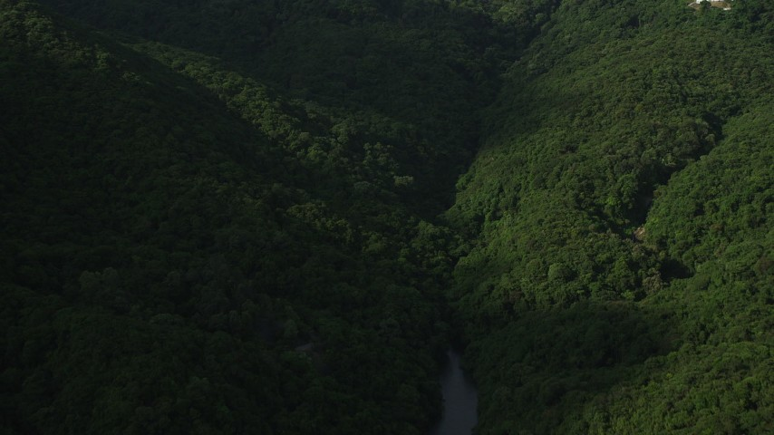 5K stock footage aerial video fly over reservoir and green forest toward a green mountain on Hong Kong Island, China Aerial Stock Footage | SS01_0094