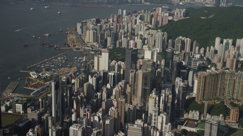 5K stock footage aerial video of a dense group of skyscrapers on Hong Kong Island, China Aerial Stock Footage | SS01_0096