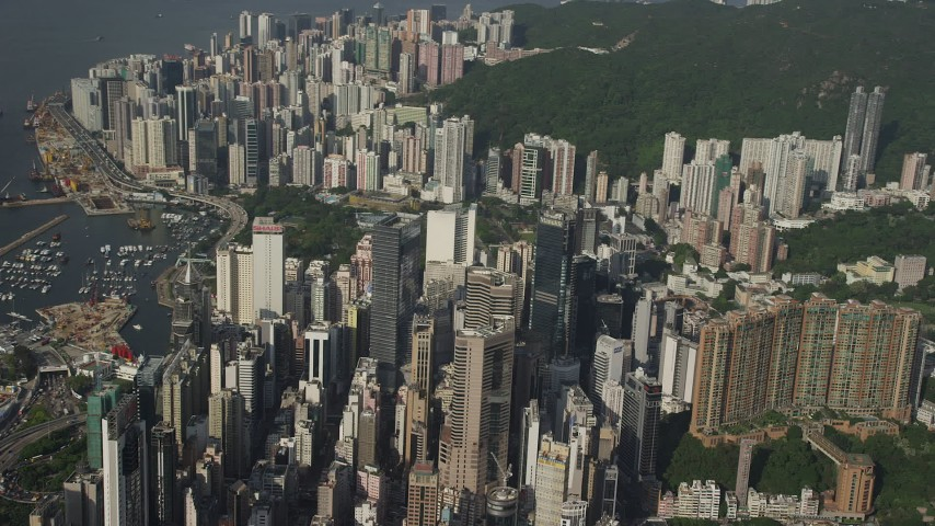 5K stock footage aerial video flyby group of skyscrapers on Hong Kong Island, China Aerial Stock Footage | SS01_0097