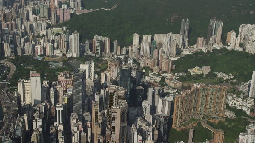 Flyby Tall Skyscrapers on Hong Kong Island, China Aerial Stock Footage | SS01_0098