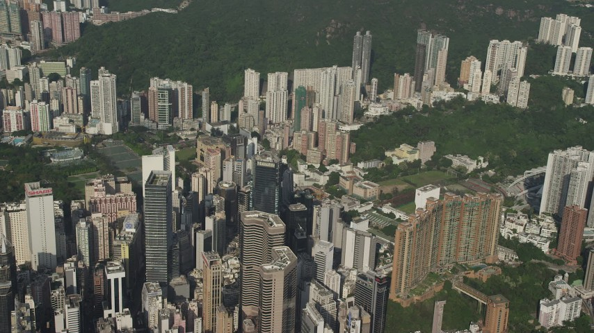 5K stock footage aerial video flyby tall skyscrapers on Hong Kong Island, China Aerial Stock Footage | SS01_0098
