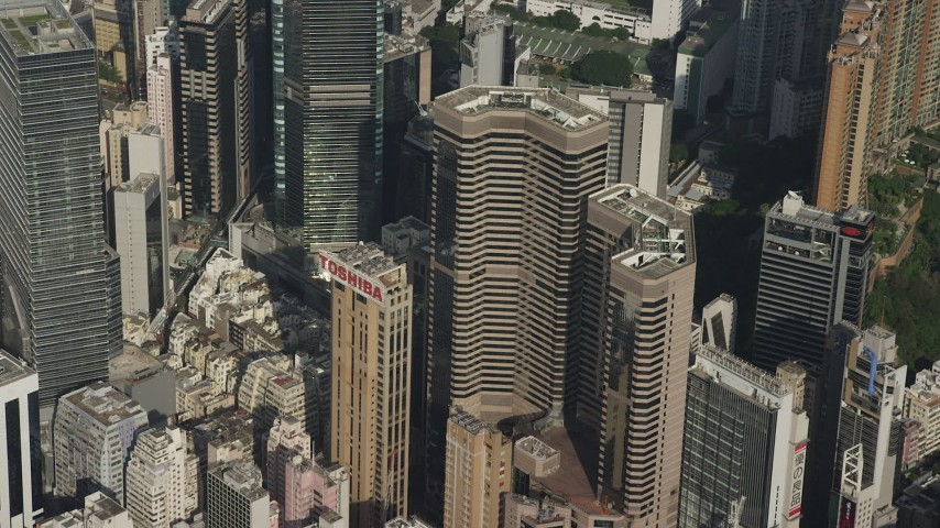 5K stock footage aerial video of Times Square Towers skyscrapers on Hong Kong Island, China Aerial Stock Footage | SS01_0099