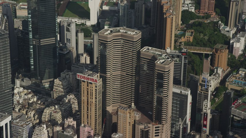Reverse View of Times Square Towers and Reveal Race Track on Hong Kong Island Aerial Stock Footage   SS01_0100
