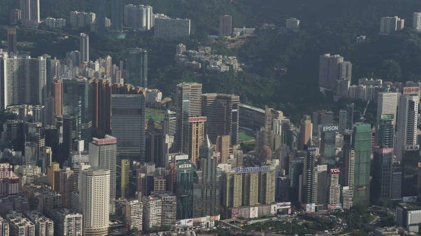 5K stock footage aerial video flyby group of skyscrapers on Hong Kong Island, China Aerial Stock Footage | SS01_0105