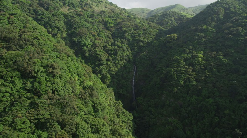 Approach a Waterfall in the Mountains with Forest on Hong Kong Island Aerial Stock Footage SS01_0108