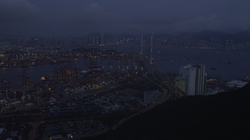 5K stock footage aerial video approach the Port of Hong Kong and the Stonecutters Bridge at night, China Aerial Stock Footage | SS01_0112