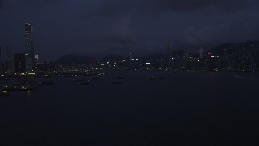 5K stock footage aerial video approach the skyline of Hong Kong Island at night, China Aerial Stock Footage | SS01_0124