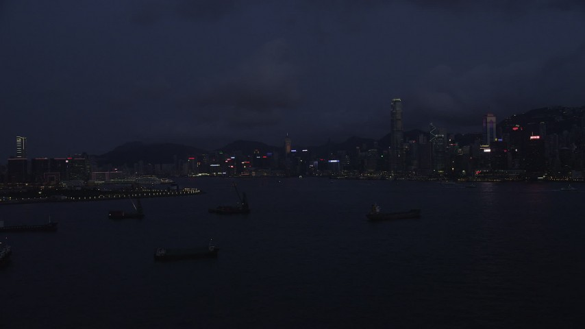 Approach the Hong Kong Island Skyline at Night Aerial Stock Footage | SS01_0126