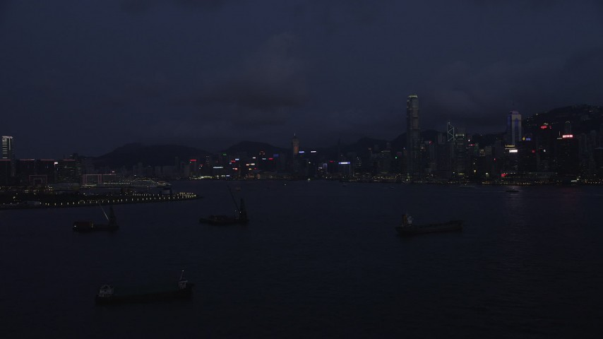 5K stock footage aerial video approach the Hong Kong Island skyline at night in China Aerial Stock Footage | SS01_0126