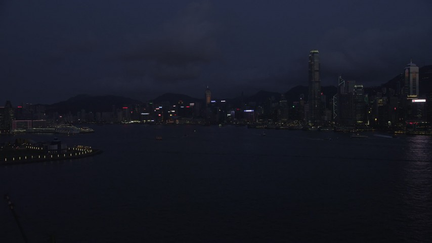 5K stock footage aerial video of approaching Hong Kong Island skyline and the harbor at night, China Aerial Stock Footage | SS01_0127