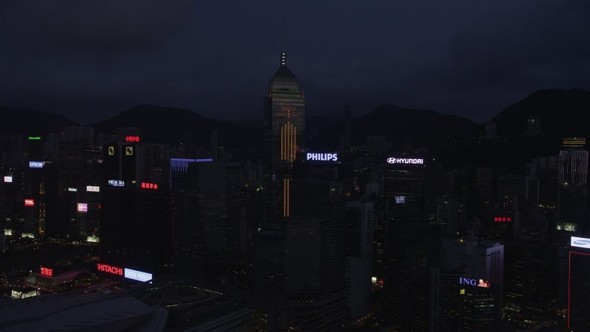 5K stock footage aerial video approach Central Plaza and high-rises on Hong Kong Island at night, China Aerial Stock Footage | SS01_0134