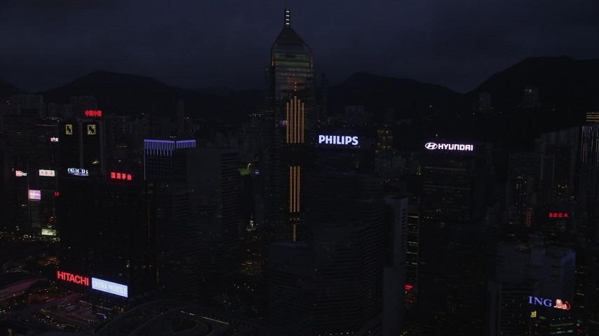 Central Plaza and High-Rises on Hong Kong Island at Nighttime Aerial Stock Footage | SS01_0135