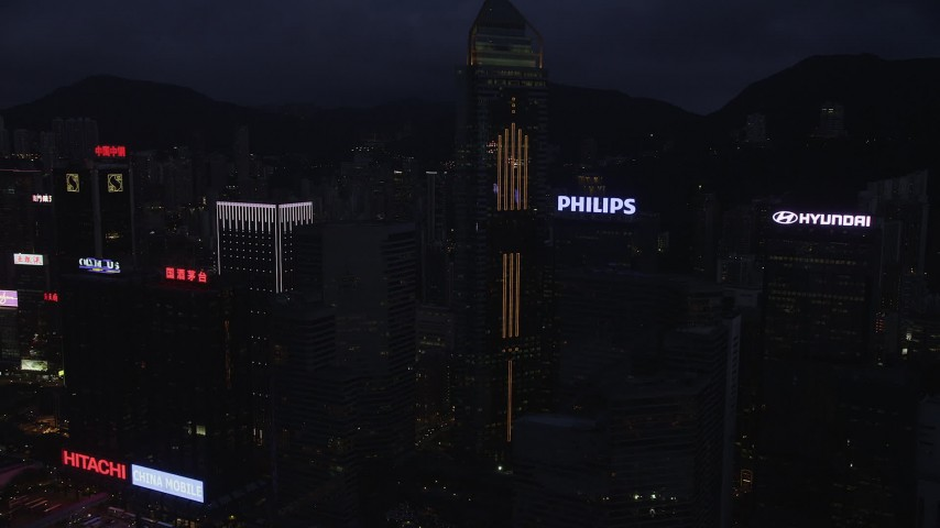 5K stock footage aerial video of Central Plaza and high-rises on Hong Kong Island at nighttime in China Aerial Stock Footage | SS01_0135