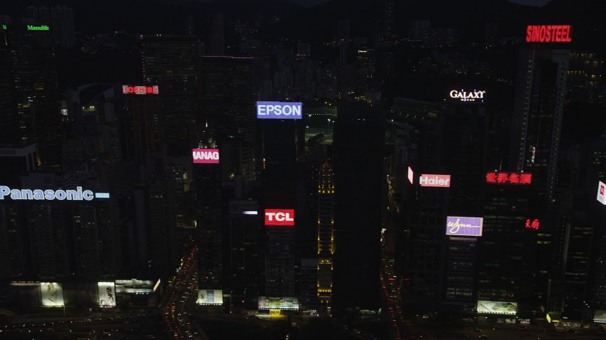 5K stock footage aerial video flyby high-rises and office buildings on Hong Kong Island at night, China Aerial Stock Footage | SS01_0137