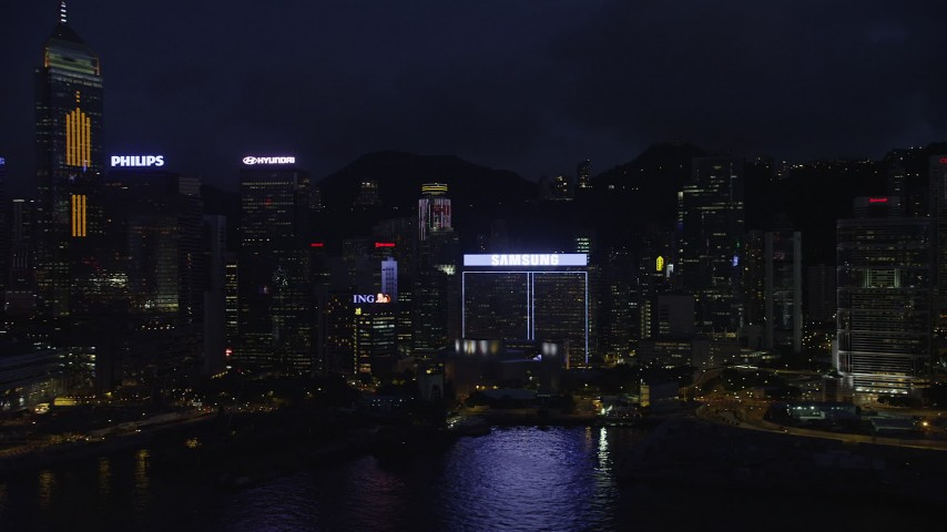 5K stock footage aerial video flyby Central Plaza and high-rises on Hong Kong Island at night, China Aerial Stock Footage | SS01_0152