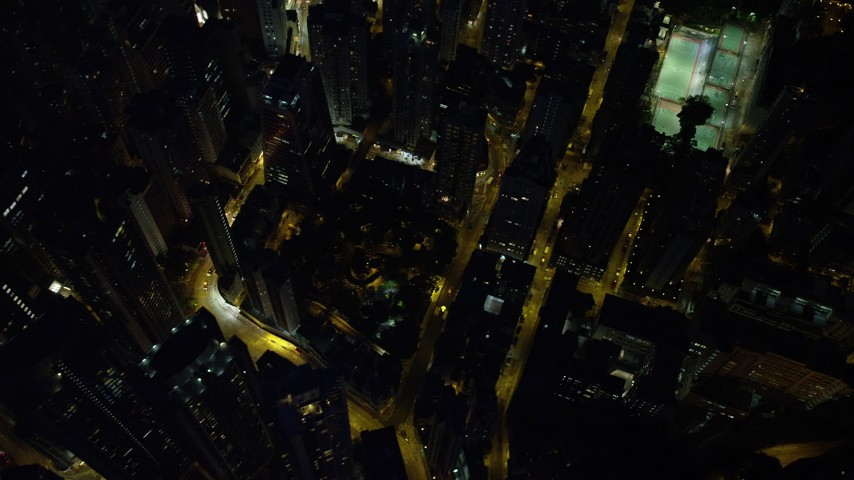 5K stock footage aerial video bird's eye of city streets and office towers at night on Hong Kong Island, China Aerial Stock Footage | SS01_0169