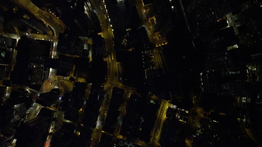 Bird's Eye View of Narrow City Streets at Night through Hong Kong Island Aerial Stock Footage | SS01_0170