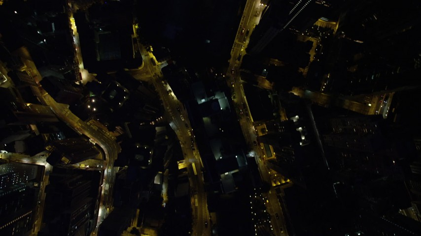 5K stock footage aerial video bird's eye view of narrow city streets at night through Hong Kong Island, China Aerial Stock Footage | SS01_0170