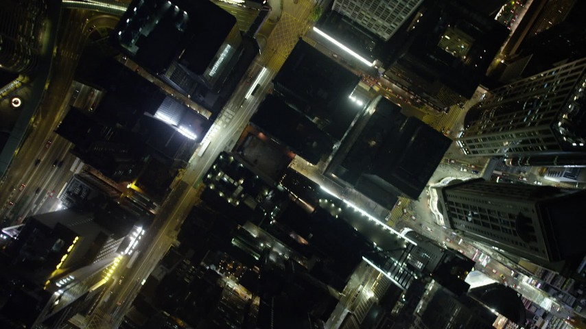 5K stock footage aerial video a bird's eye view of city streets and high-rises at night on Hong Kong Island, China Aerial Stock Footage | SS01_0172