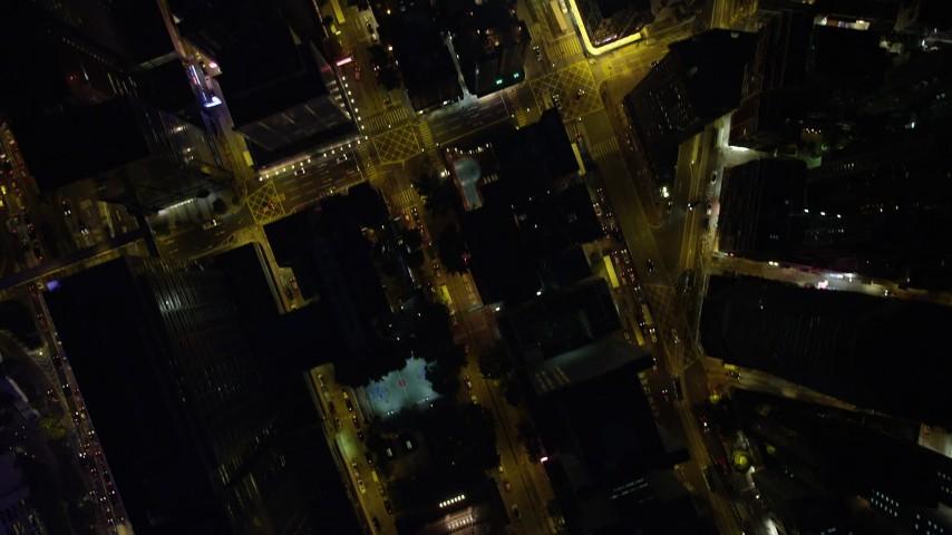 Bird's Eye View of City Streets at Night on Hong Kong Island, China Aerial Stock Footage | SS01_0174