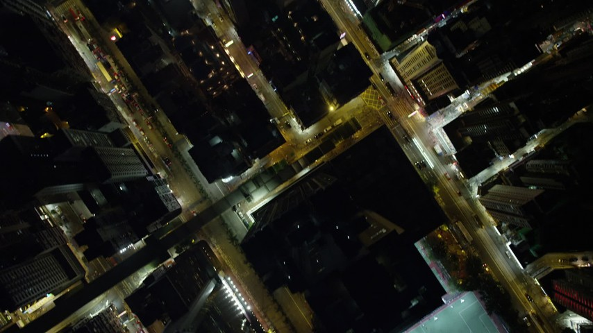 Bird's Eye View of Busy City Streets through Hong Kong Island Aerial Stock Footage   SS01_0175