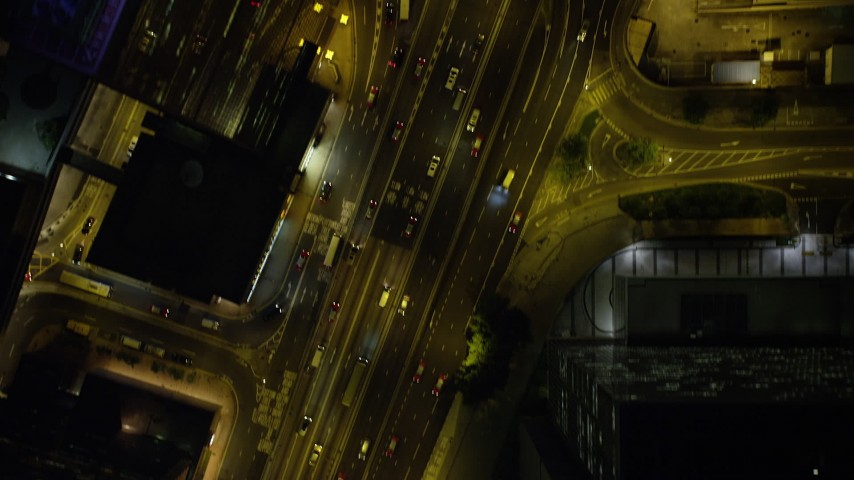 5K stock footage aerial video bird's eye of busy streets and skyscrapers at night on Hong Kong Island, China Aerial Stock Footage | SS01_0180