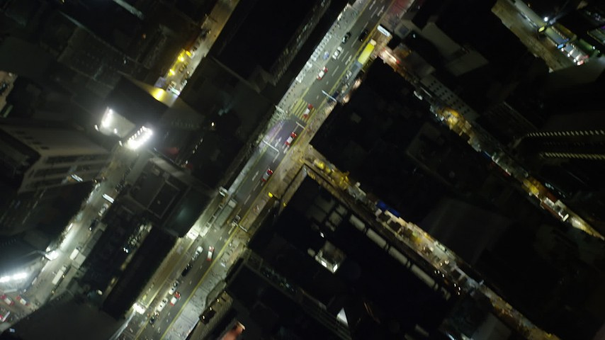 5K stock footage video bird's eye of narrow streets at night on Hong Kong Island, China Aerial Stock Footage | SS01_0182