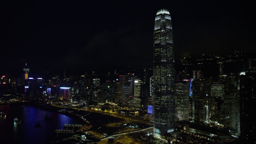 Flyby International Finance Centre and Waterfront Towers at Night on Hong Kong Island Aerial Stock Footage   SS01_0186