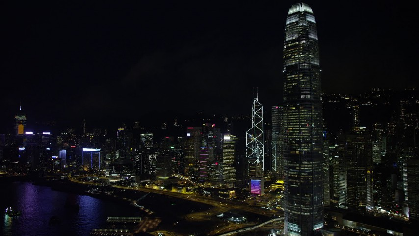 5K stock footage aerial video flyby International Finance Centre and waterfront towers at night on Hong Kong Island, China Aerial Stock Footage | SS01_0186