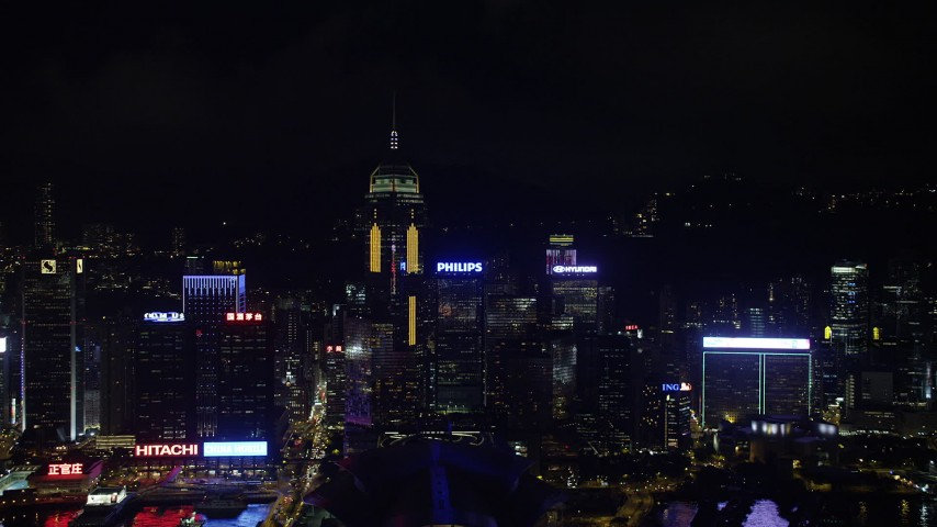5K stock footage aerial video approach Central Plaza and neighboring high-rises at night on Hong Kong Island, China Aerial Stock Footage | SS01_0204