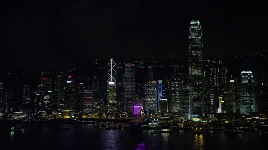 Approach and Zoom in on Bank of China Tower on Hong Kong Island at Night Aerial Stock Footage | SS01_0218
