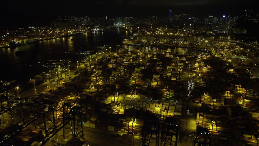 5K stock footage aerial video fly over stacks of containers at the Port of Hong Kong at night, China Aerial Stock Footage | SS01_0234
