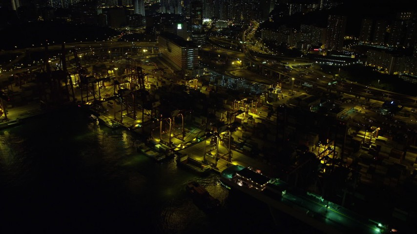 Cargo Cranes at the Port of Hong Kong at Night Aerial Stock Footage | SS01_0239