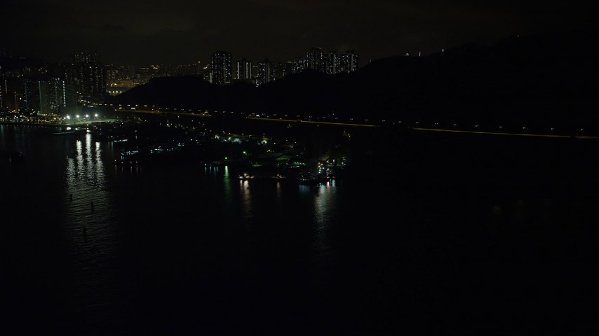 5K stock footage aerial video approach poorly lit piers and warehouses on Rambler Channel at night in Hong Kong, China Aerial Stock Footage   SS01_0251