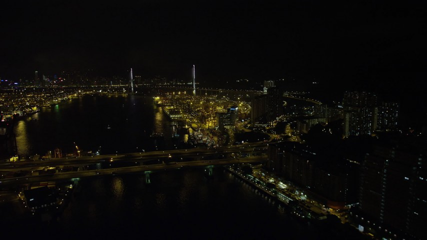 5K stock footage aerial video fly over Rambler Channel at night to approach Stonecutters Bridge and Port of Hong Kong, China Aerial Stock Footage | SS01_0260