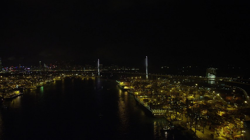 Flyby Port of Hong Kong at Night to Approach Stonecutters Bridge Aerial Stock Footage | SS01_0262