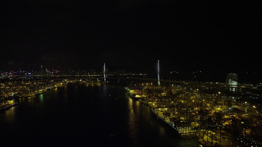 5K stock footage aerial video flyby Port of Hong Kong at night to approach Stonecutters Bridge, China Aerial Stock Footage | SS01_0262