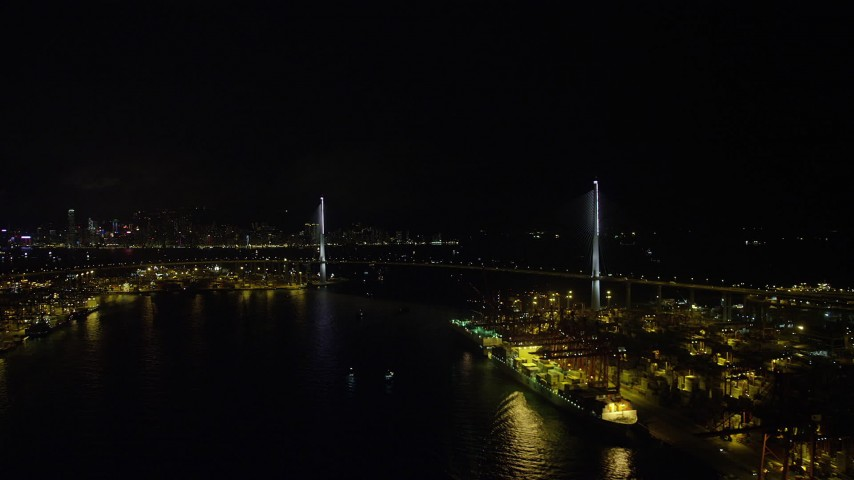 Approach the Stonecutters Bridge at Night from Rambler Channel in Hong Kong Aerial Stock Footage | SS01_0264