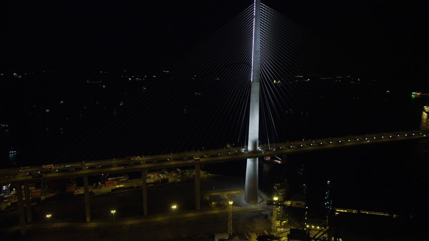 Orbiting the Stonecutters Bridge at Night in Hong Kong Aerial Stock Footage | SS01_0266