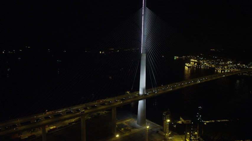 5K stock footage aerial video of orbiting the Stonecutters Bridge at night in Hong Kong, China Aerial Stock Footage | SS01_0266
