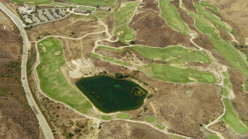 1080 stock footage aerial video of a bird's eye view of golf course in Simi Valley, California Aerial Stock Footage | TS01_009