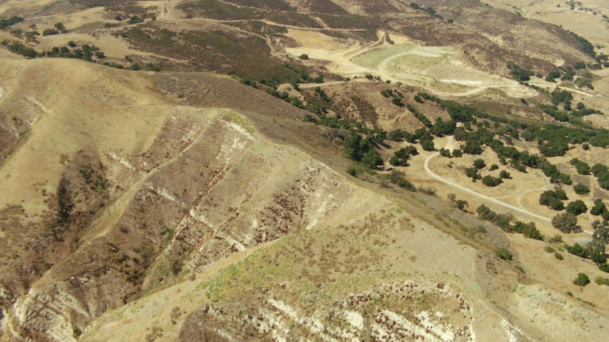 1080 stock footage aerial video tilt from bird's eye view of hills in Simi Valley, California Aerial Stock Footage | TS01_010